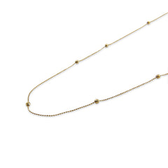 18k Real Gold Beaded Chain adjustable long/short Necklace (70cm)