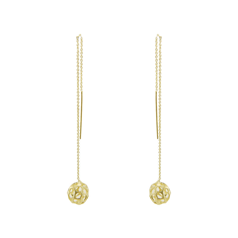 3D Cutout Ball Gold Sterling Sliver Pull-Thru Chain Earrings