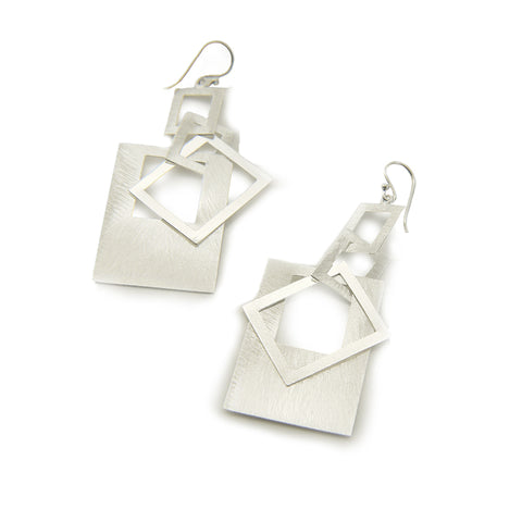 Four Cutout Square Sterling Sliver Drop Earrings