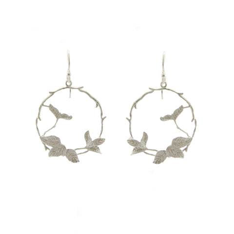 Circle Branch With Leaf Sterling Sliver Drop Earrings