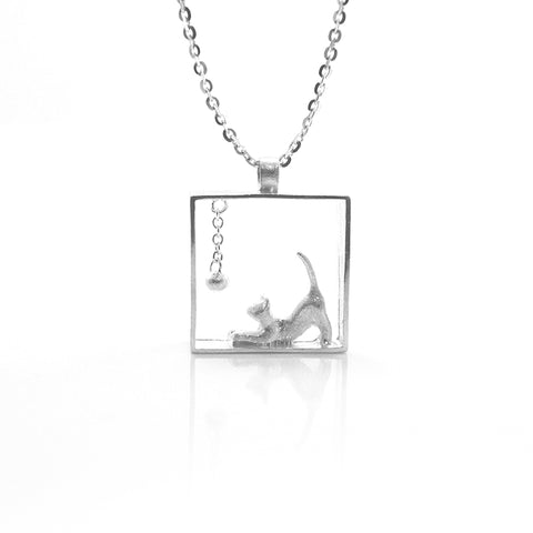 Cat With Ball Sterling Sliver Short Necklace