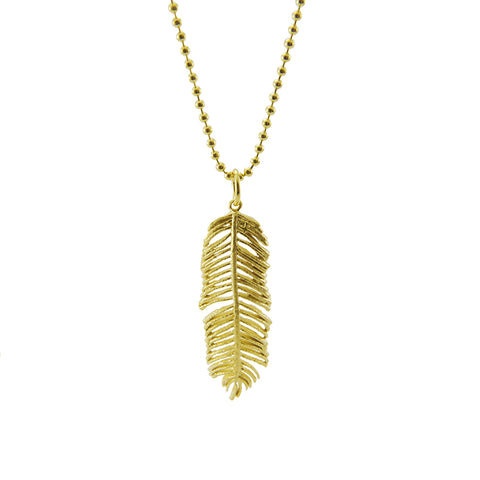 Fern Leaf Gold Sterling Silver Medium Length Necklace