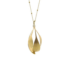 Spatulate Quartet Long Gold Necklace