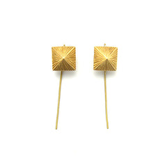 Pyramid Gold Earrings