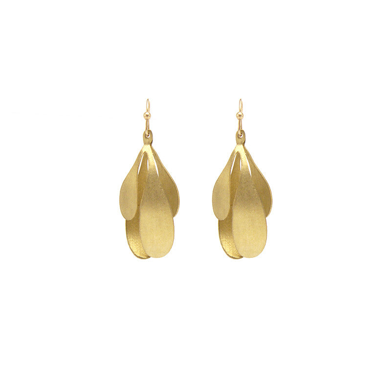 Spatulate Quartet Gold Earrings