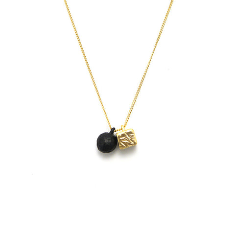 Ball & Cube Gold Short Necklace