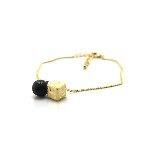 Ball & Cube Gold & Black Bracelet