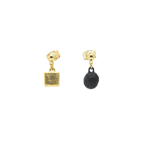 Ball & Cube Gold Earrings