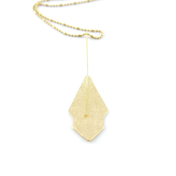 Rhomboid Long Gold Necklace