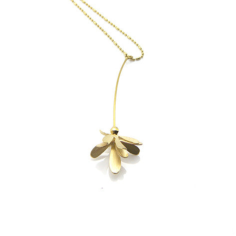 Flying Bug Gold Long Necklace