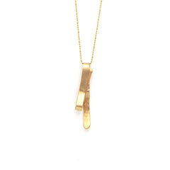Folded Stick Long Gold Necklace
