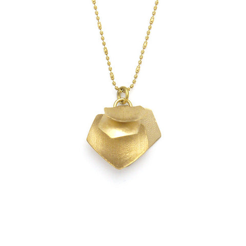 Hexagon Quartet Gold Short Necklace