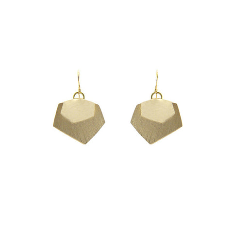 Hexagon Duo Gold Earrings