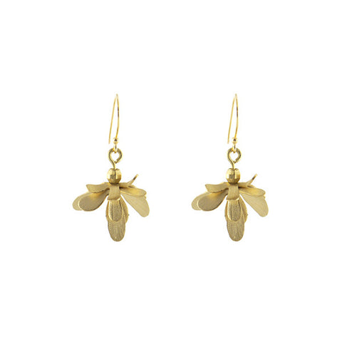 Flying Bug Gold Earrings