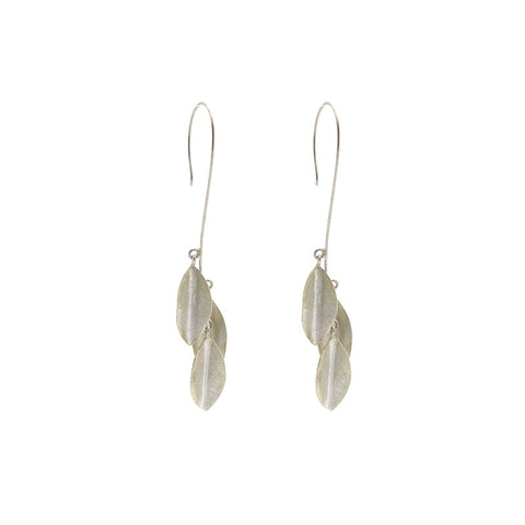 Three Falling Leaf Sterling Silver Earrings