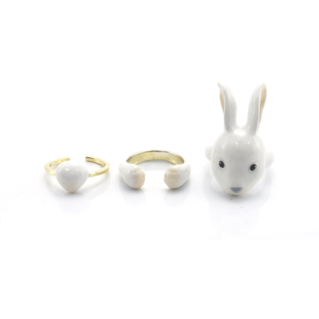 Rabbit White Triple Ring Set