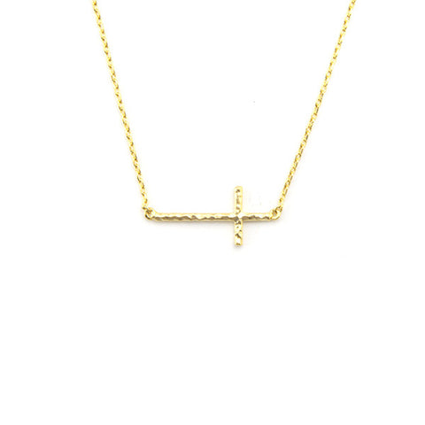 Cross Gold Short Necklace