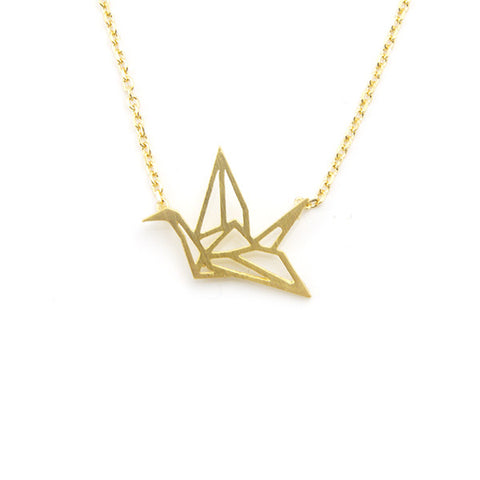 Crane Gold Short Necklace
