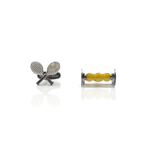 Tennis Racket & Ball Black Cufflinks