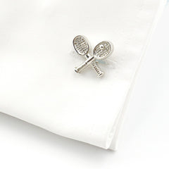 Tennis Racket & Ball Silver Cufflinks