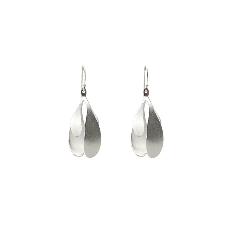 Spatulate Quartet Silver Earrings