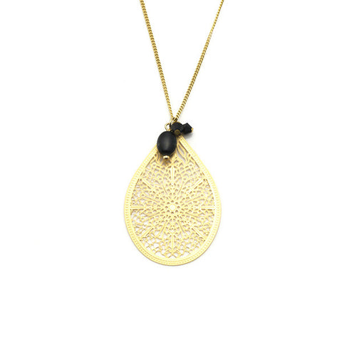 Waterdrop Long Gold Necklace