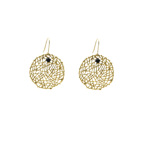 Big Round Nest Pattern Gold Earrings