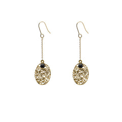 Oval Nest Pattern Gold Earrings