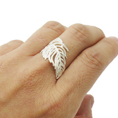 Curved Leaf Silver Ring