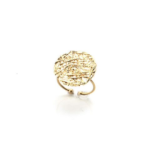Round Nest Pattern Gold Ring