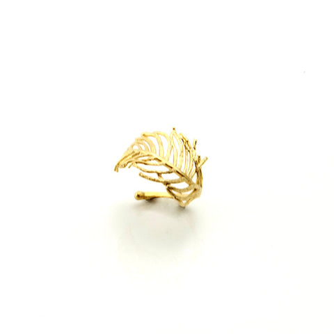Curved Leaf Gold Ring