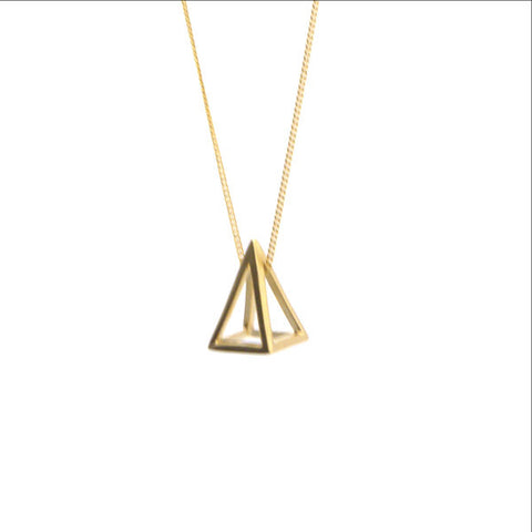 Cutout Pyramid Long Gold Necklace