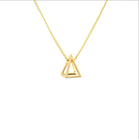 Cutout Pyramid Gold Short Necklace