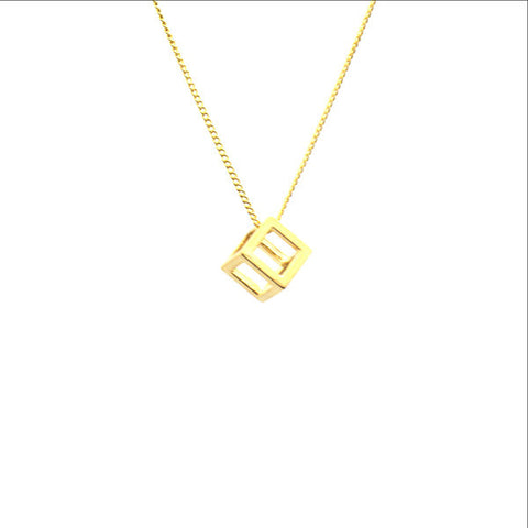 Cutout Cube Gold Short Necklace