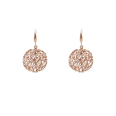 Round Nest Rose Gold Sterling Silver Earrings