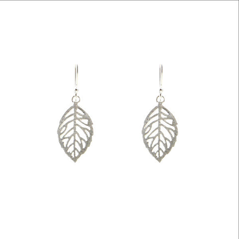 Tiny Leaf Sterling Silver Earrings