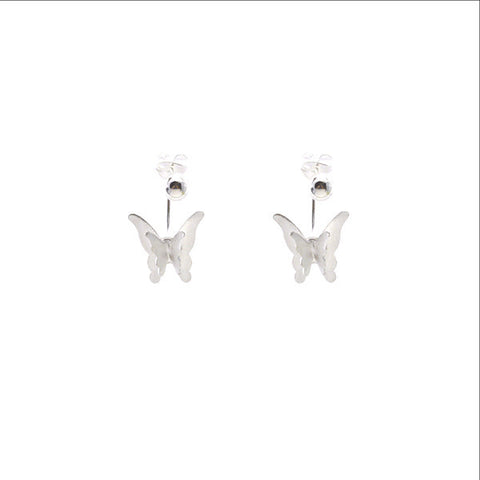 Hanging Butterfly Sterling Silver Earrings