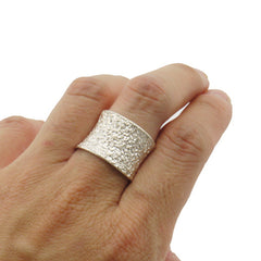 Gliterring Lava Sterling Silver Adjustable Ring