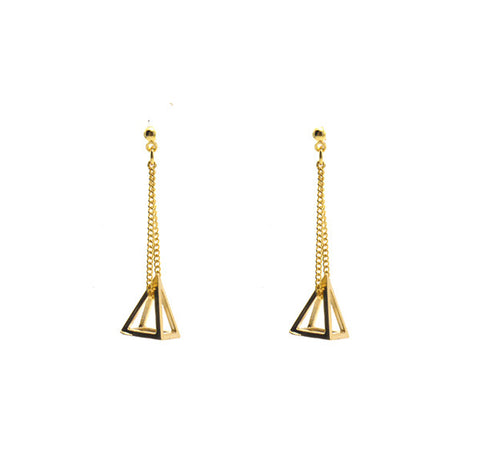Cutout Pyramid Gold Earrings