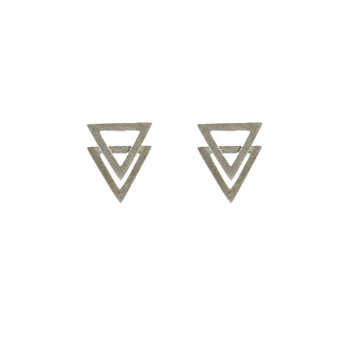 Outlined Double Triangle Studs
