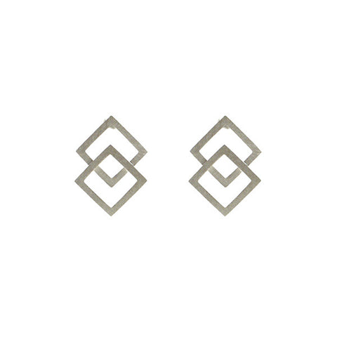 Outlined Diamond Duo Sterling Silver Stud