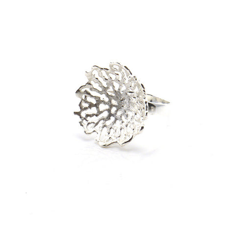 Cup Coral Sterling Silver Ring