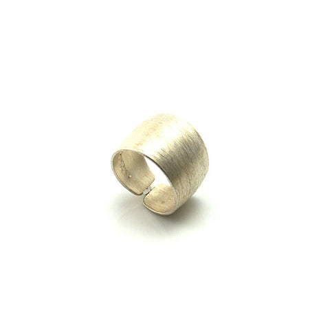 Shinny Brushed Pattern Basic Sterling Silver Ring