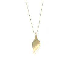 Hammered Leaf Long Gold Necklace