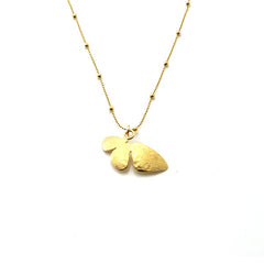 Half Butterfly Gold Short Necklace