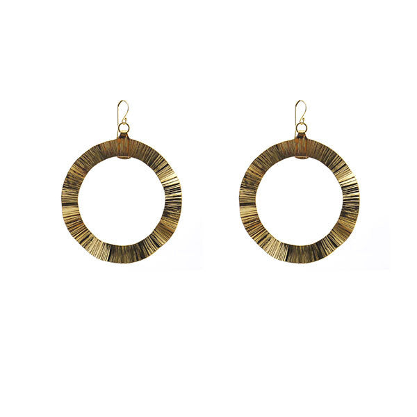 Wavey Round Gold Earrings