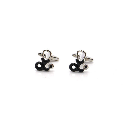 Stethoscope Black & Silver Cufflinks