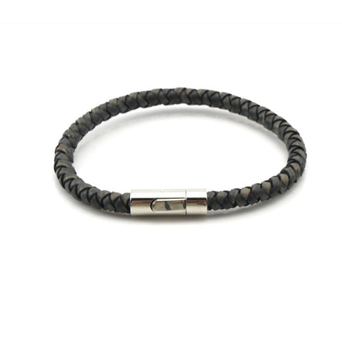 Greyish Woven Leather Bracelet with Shiny Simple Clasp
