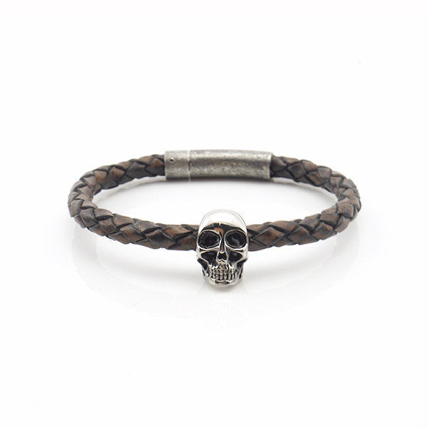 Skull Brown Woven Leather Bracelet with Rushy Clasp