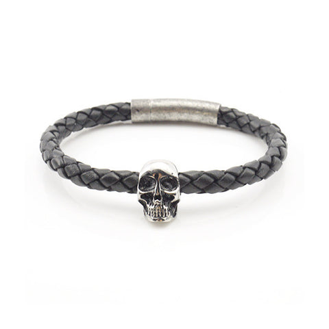 Skull Black Woven Leather Bracelet with Rushy Clasp